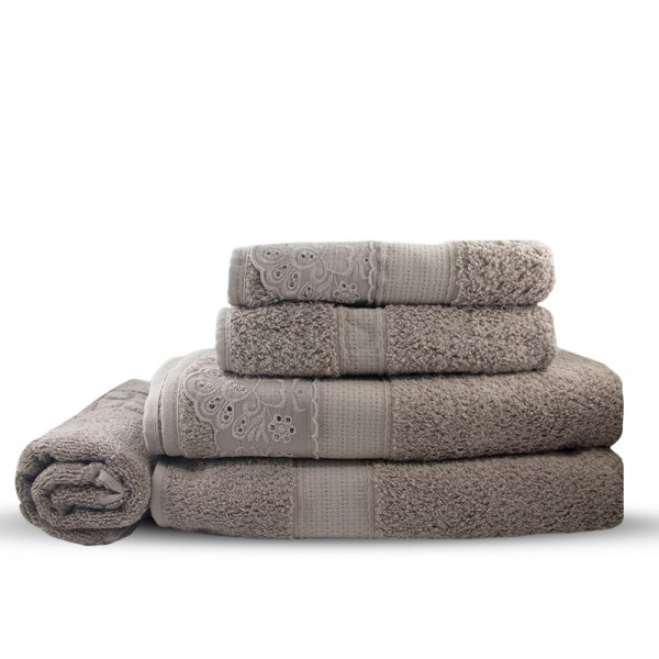 Jogo de toalha de banho 5 peças com aplicação de renda Bouton - Khaki