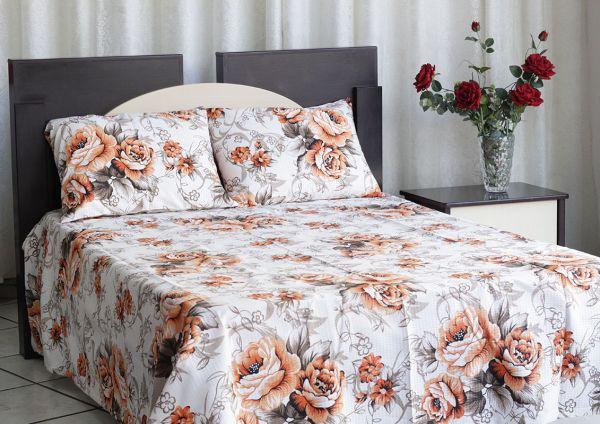 Kit colcha de casal texturatto estampada Flores alaranjadas - OMA Enxovais