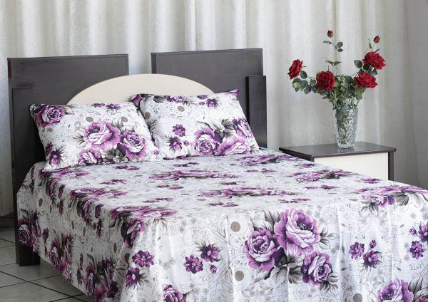 Kit colcha de casal texturatto estampada Flores Roxas - OMA Enxovais