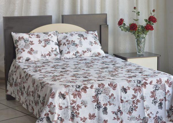 Kit colcha de casal texturatto estampada Flores cinzas com detalhes marrom - OMA Enxovais