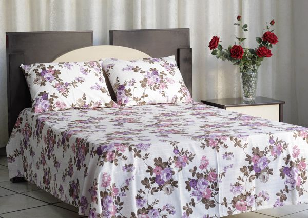 Kit colcha de casal texturatto estampada Florida lilás - OMA Enxovais