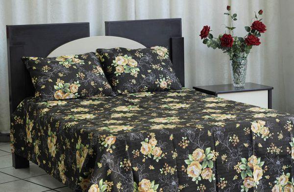 Kit colcha de casal texturatto estampada Florida amarelo com fundo Preto - OMA Enxovais