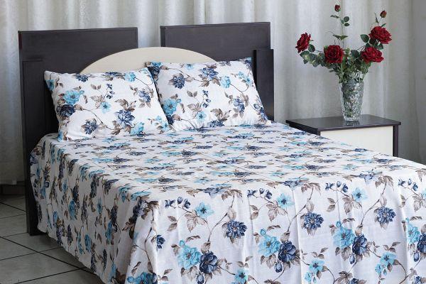 Kit colcha de casal texturatto estampada Floral azul - OMA Enxovais
