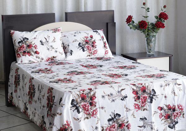 Kit colcha de casal texturatto estampada Rosas vermelhas com laços - OMA Enxovais