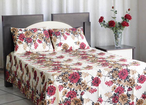 Kit colcha de casal texturatto estampada Floral vermelho e marrom - OMA Enxovais