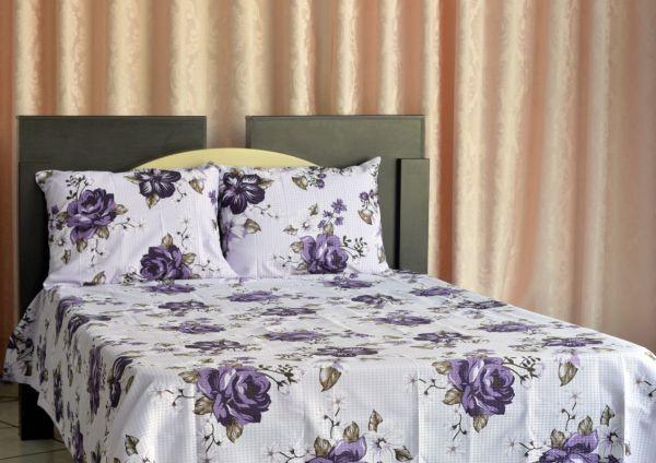 Kit colcha de casal piquet estampada Flores Roxas - OMA Enxovais