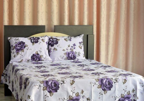Kit colcha queen piquet estampada Flores Roxas - OMA Enxovais