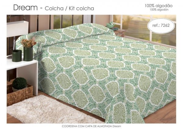 Kit colcha queen estampada verde claro - Dream