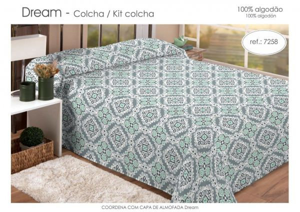 Kit colcha queen estampada verde escuro - Dream