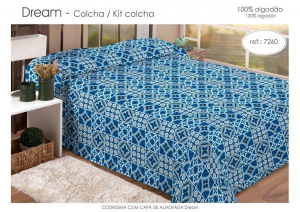 Kit colcha solteiro estampado azul - Dream