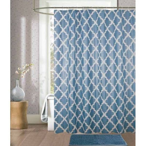 Kit cortina para box de banheiro + tapete Azul - Camesa