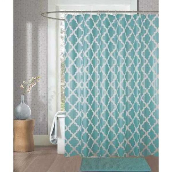 Kit cortina para box de banheiro + tapete verde - Camesa