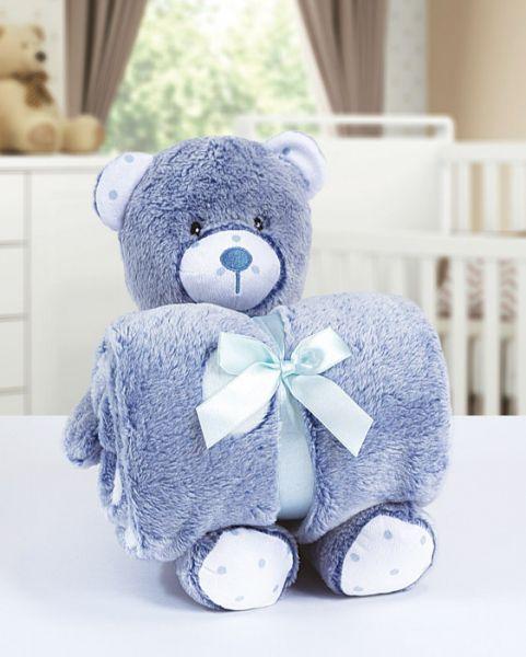 Kit manta com bichinho de pelúcia - bear azul - Bouton