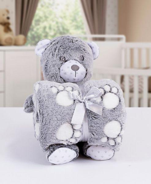 Kit manta com bichinho de pelúcia - bear cinza - Bouton