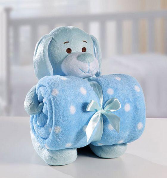 Kit manta com bichinho de pelúcia - blue dog - Bouton