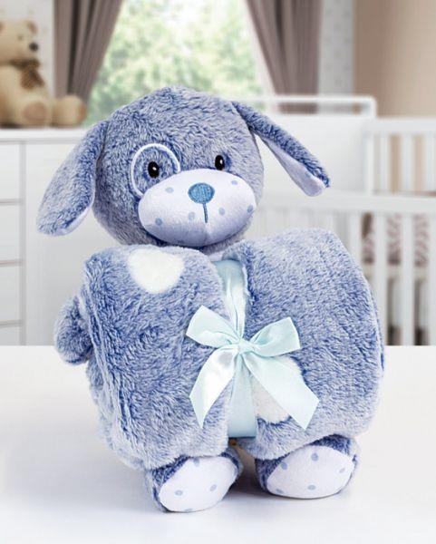 Kit manta com bichinho de pelúcia - dog azul - Bouton