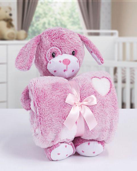 Kit manta com bichinho de pelúcia - dog rosa - Bouton
