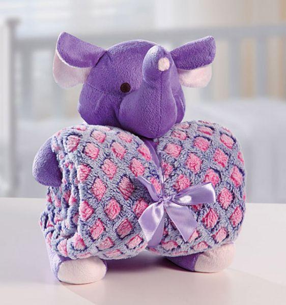 Kit manta com bichinho de pelúcia - elefante - Bouton