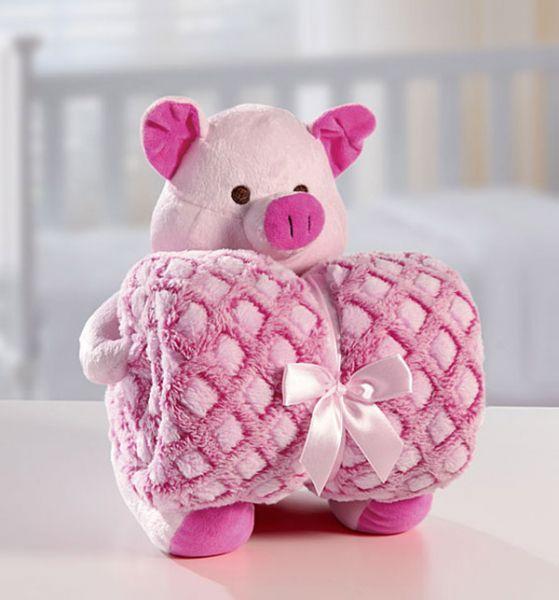 Kit manta com bichinho de pelúcia - sweet pig - Bouton