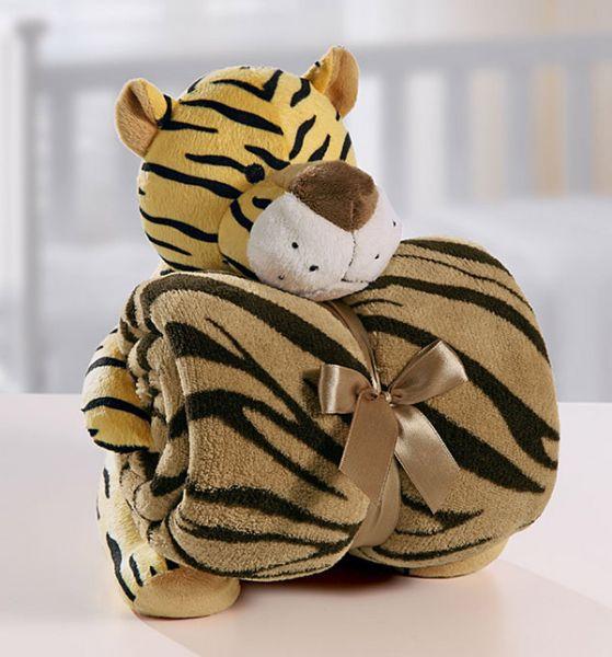 Kit manta com bichinho de pelúcia - tigre - Bouton