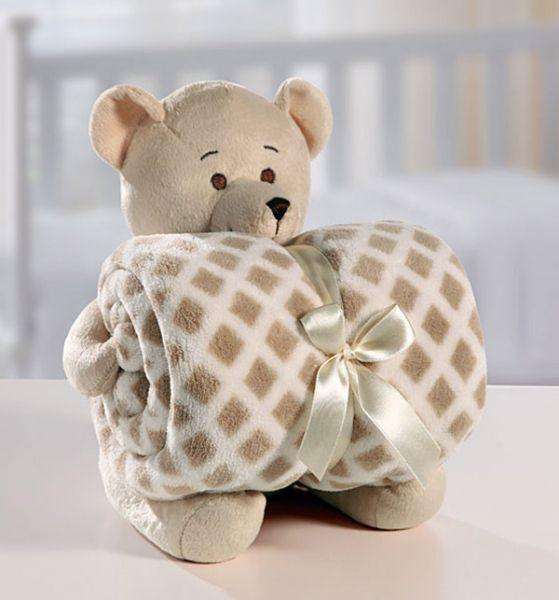 Kit manta com bichinho de pelúcia - urso bege - Bouton