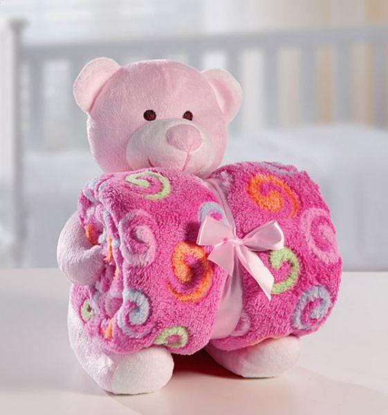 Kit manta com bichinho de pelúcia - urso rosa - Bouton