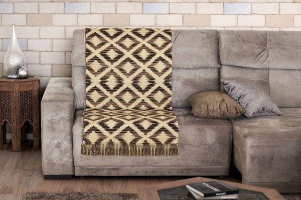 Manta para sofá - Jacquard Midas Etnia Marrom - 2,10 m x 1,40 m - Adomes
