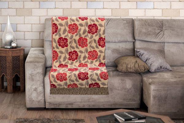 Manta para sofá - Jacquard Midas floral vermelho - 1,70 m x 1,40 m - Adomes