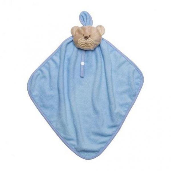 Naninha de bebê com prendedor de chupeta - Azul