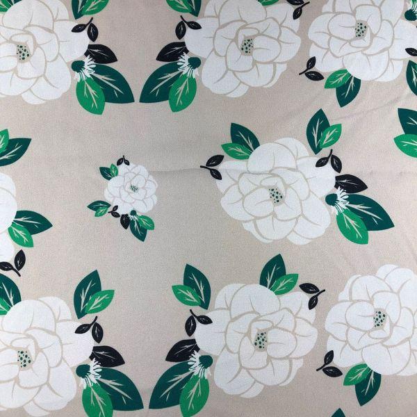 Oxford Estampado Com Flores Brancas com detalhes Verdes com fundo cinza 1,40 Largura 100% Poliéster
