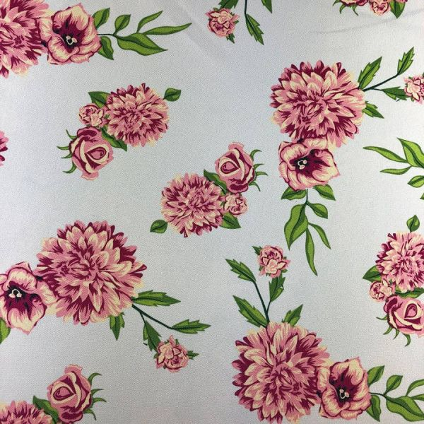 Oxford Estampado Com Flores Rosas 1,40 Largura 100% Poliéster