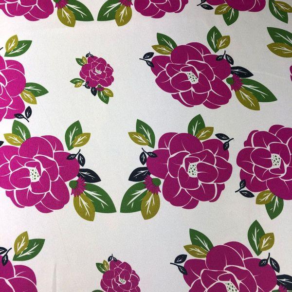 Oxford Estampado Com Flores Rosas Pink 1,40 Largura 100% Poliéster