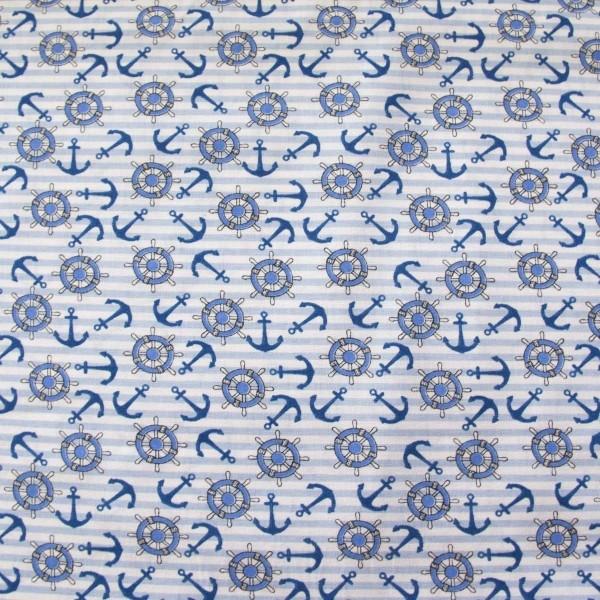 Tecido Tricoline estampado Âncoras e Timão Azul