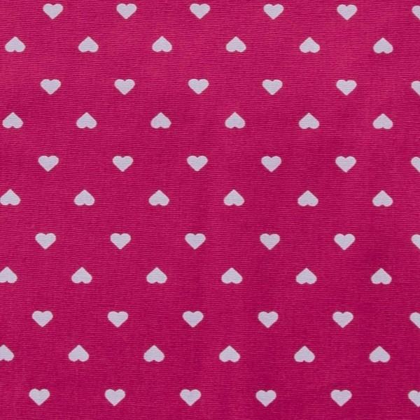 Tecido Tricoline estampado coração branco com fundo pink