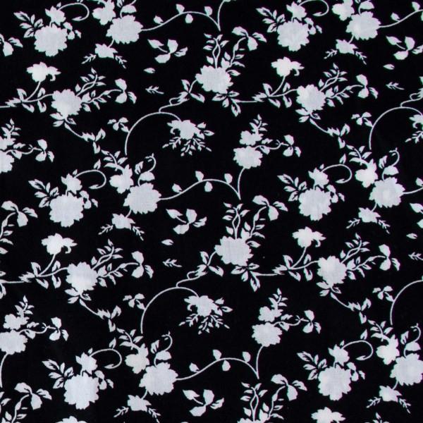 Tecido Tricoline estampado Floral branco com fundo preto