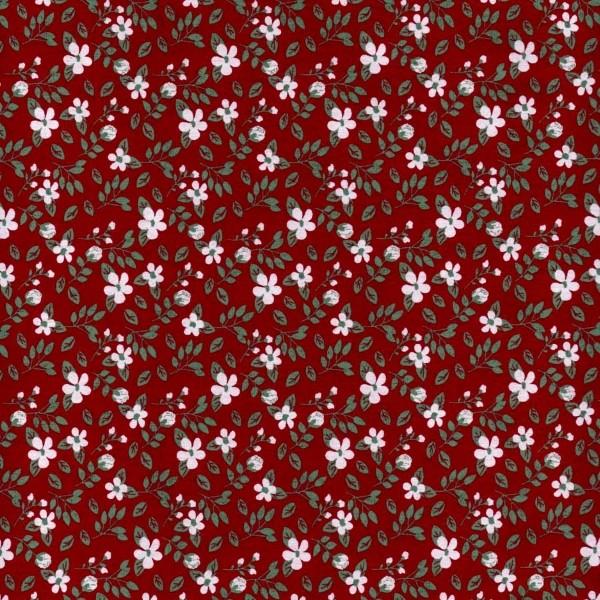 Tecido Tricoline estampado floral fundo vermelho