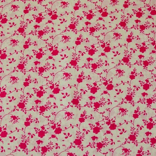 Tecido Tricoline estampado Floral Pink fundo creme