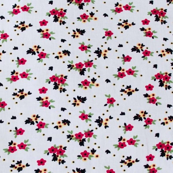 Tecido Tricoline estampado Floral Rosa fundo branco