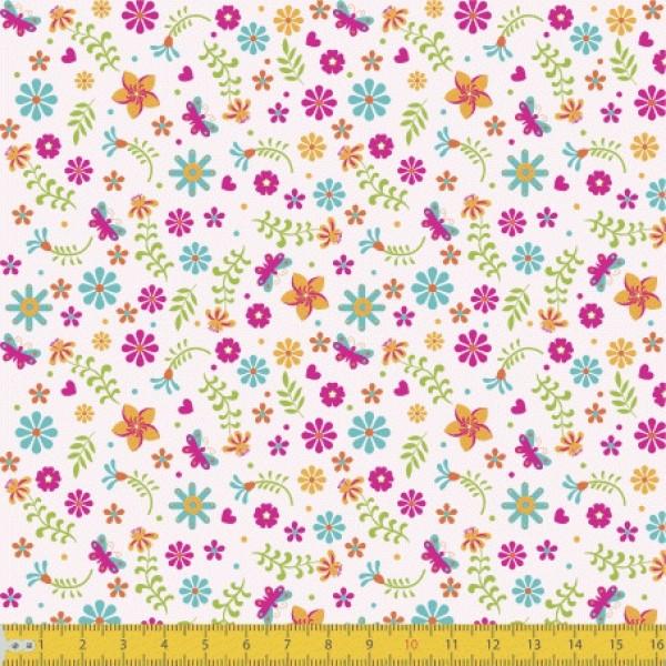 Tecido Tricoline estampado Mini Floral fundo rosa