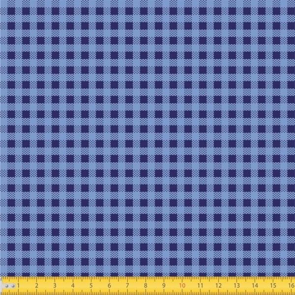 Tecido Tricoline estampado mini xadrez azul