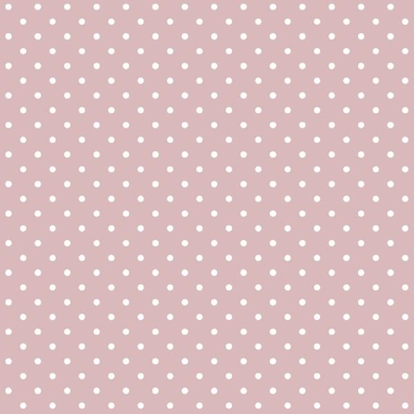 Tecido Tricoline estampado Poá branco fundo rosa seco