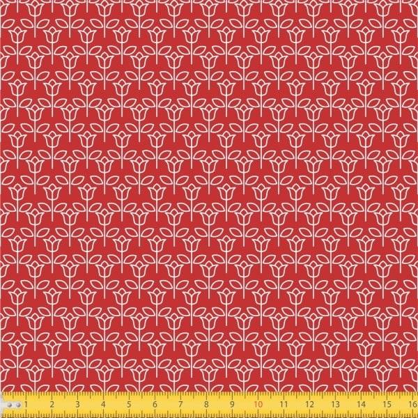Tecido Tricoline estampado Tulipinha fundo vermelho