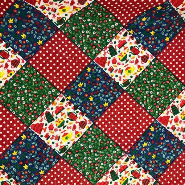 Tecido Tricoline Geométrico com poa vermelho e flores 100% Algodão 1,40 metros de largura