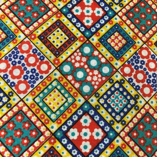 Tecido Tricoline Textoleen Mista Geométrico florido 1,40m Largura 50% Poliéster 50% Algodão