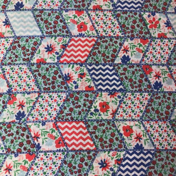 Tecido Tricoline Textoleen Mista Quadriculados floridos 1,40m Largura 50% Poliéster 50% Algodão