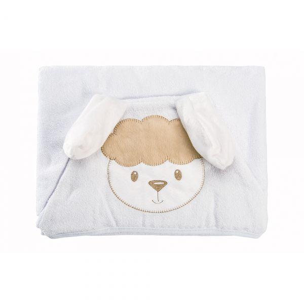 Toalha de banho bebê com capuz Ovelhinha Branca - Baby Joy
