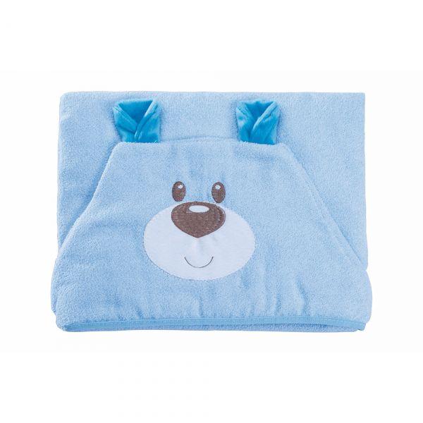 Toalha de banho bebê com capuz Ursinho Azul - Baby Joy