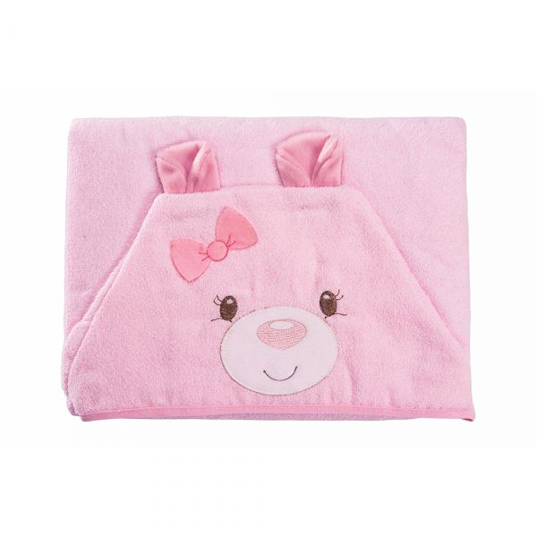 Toalha de banho bebê com capuz Ursinho Rosa - Baby Joy