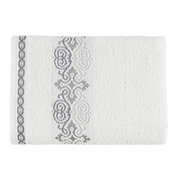 Toalha de banho Elara Branco / Cinza - Kasten