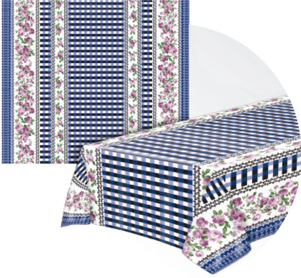 Toalha de mesa Térmica Rosas com Xadrez